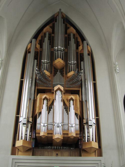 The pipe organ inside the church